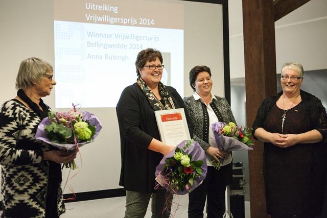 Uitreiking Vrijwilligersprijs 2014 tijdens Nieuwjaarsreceptie gemeente Bellingwedde 2015